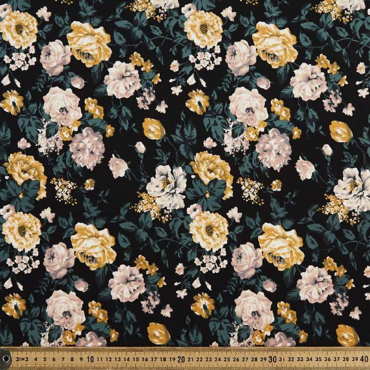 Rose Bunches Printed 148 cm Scuba Knit Fabric