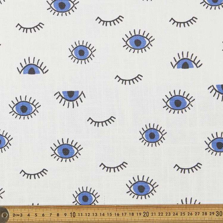 Kids Eye Canvas Slub White & Blue 150 cm