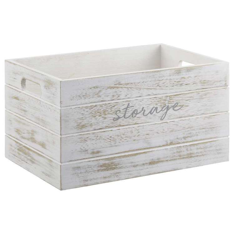 Bouclair Blushing Tones Typo Wood Crate