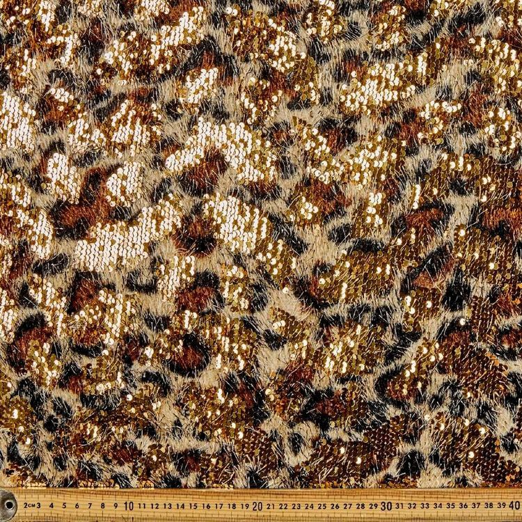 Leopard Printed Sequin 132 cm Fabric