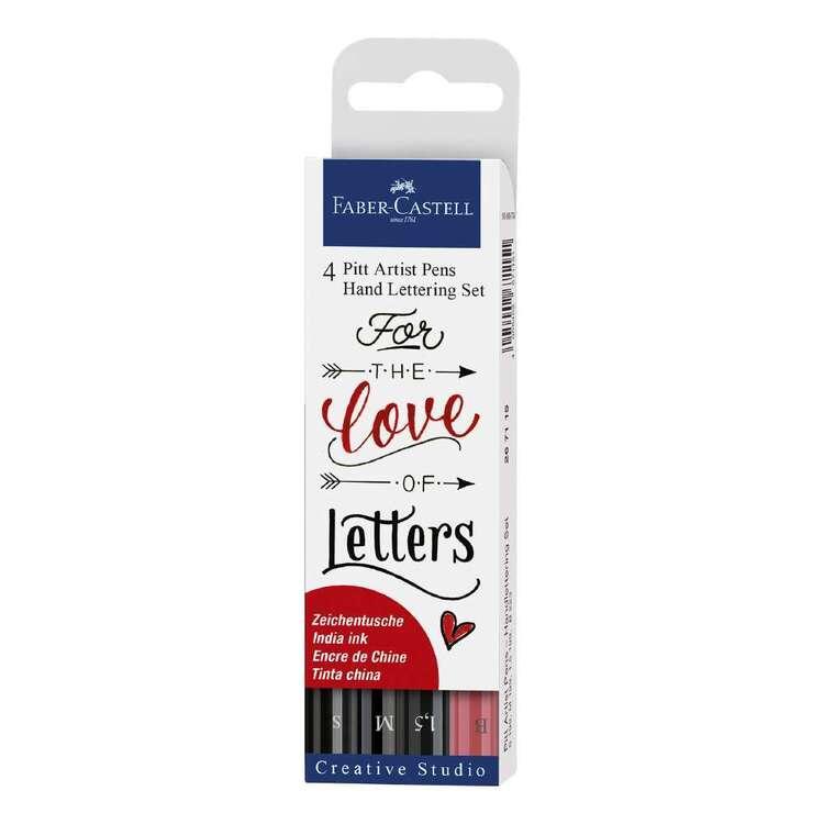 Faber Castell Pitt Artist Pen Hand Lettering Set 4 Pack