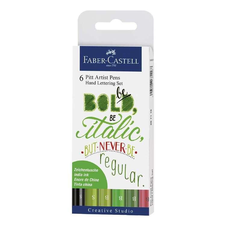 Faber Castell Pitt Artist Pen Hand Lettering Set Green 6 Pack