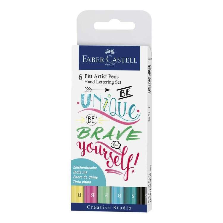 Faber Castell Pitt Artist Pen Hand Lettering Set Pastels 6 Pack