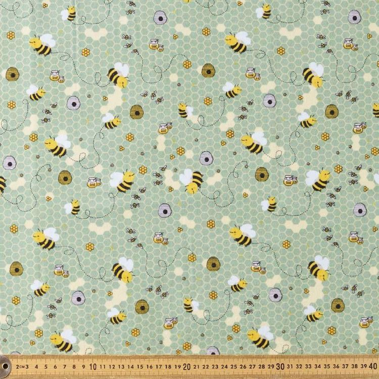 Bees Printed 112 cm Flannelette Fabric