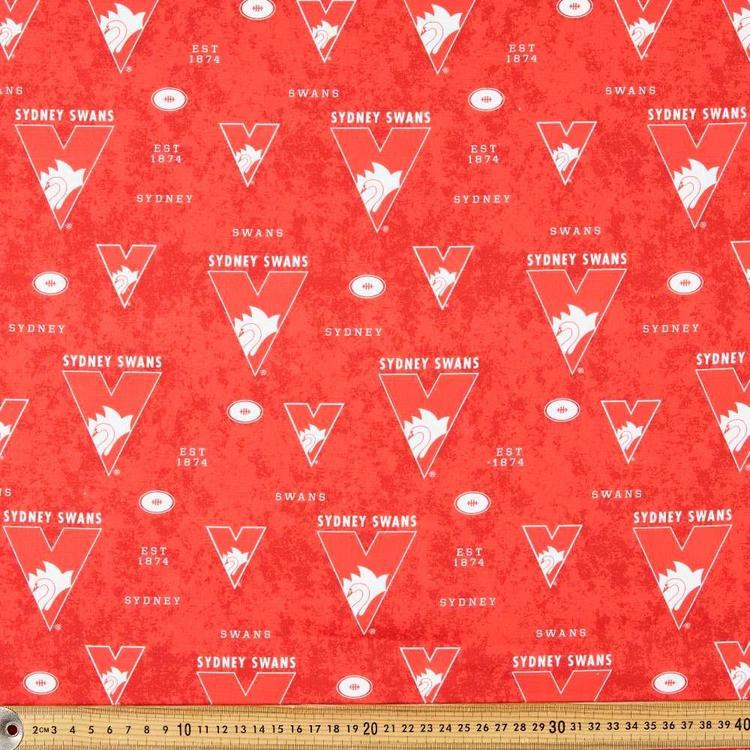AFL Sydney Swans Logo Homespun Fabric