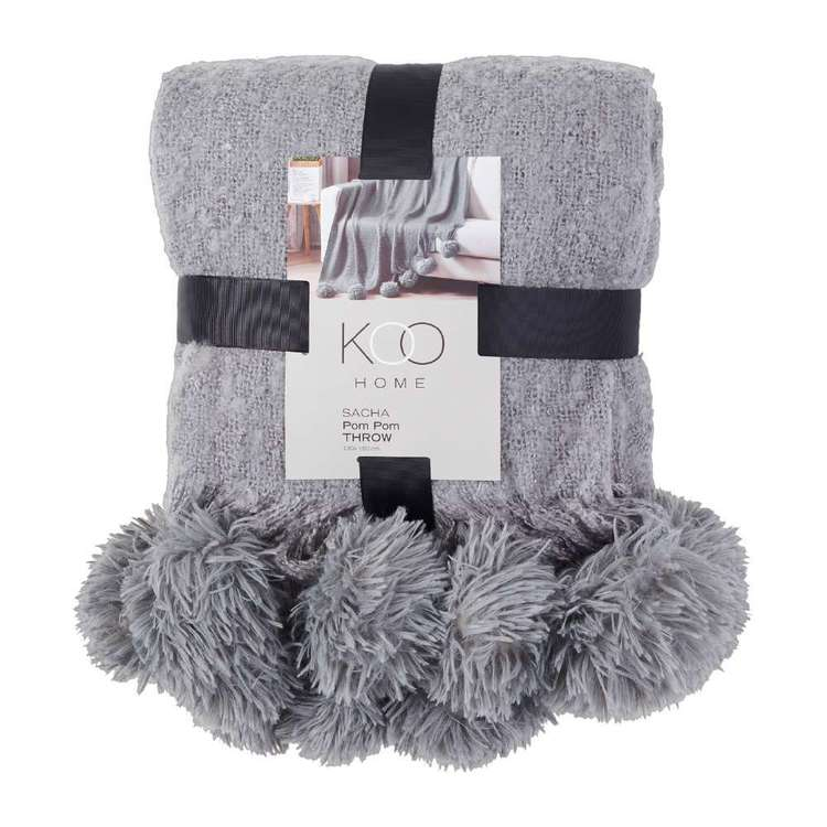 Koo Home Sacha Woven Pom Pom Throw