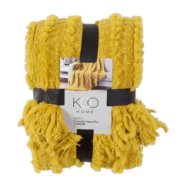 Koo Home Misty Chenille Faux Fur Throw