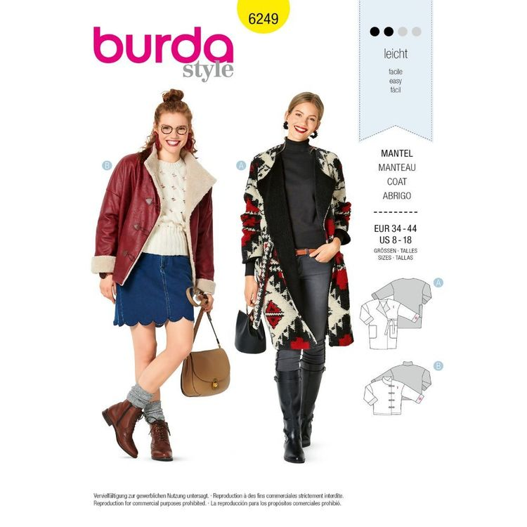 Burda Style Pattern 6249 Misses' Wrap Jackets, Side-Front Fastening in Two Lengths