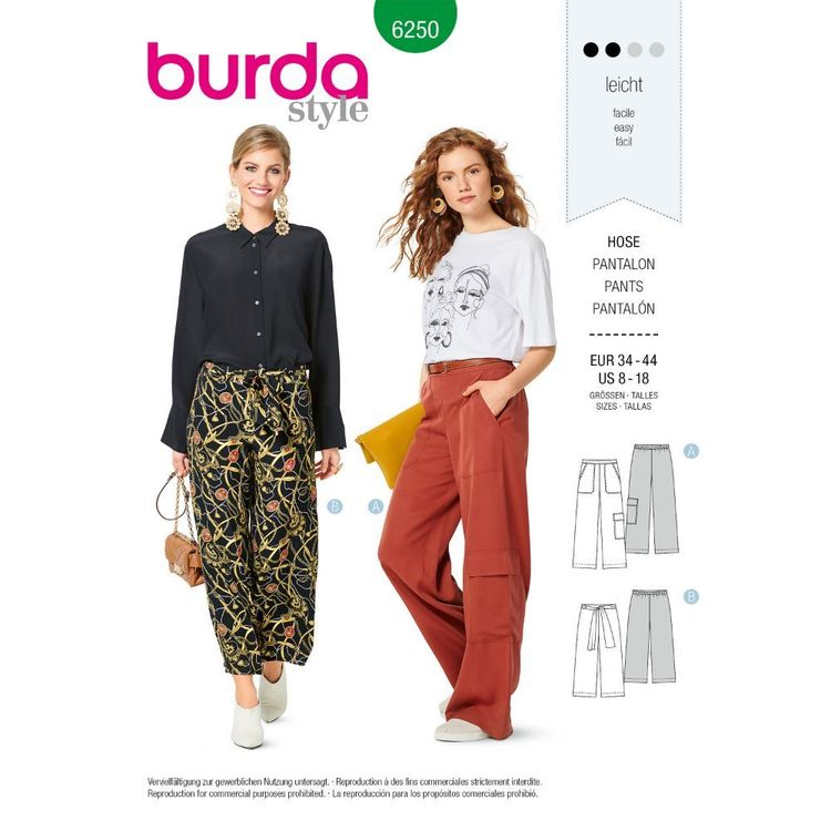 Burda Style Pattern 6250 Misses' Pants, Pull-On with Elastic Waist, Wide Leg, Crop or Full Length