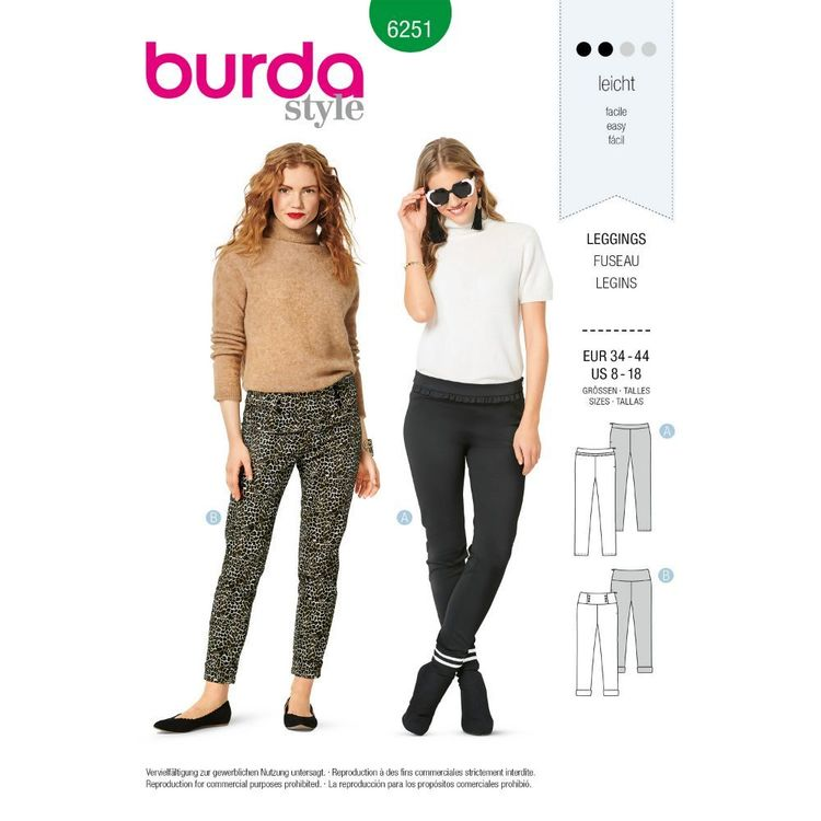 Burda Style Pattern 6251 Misses' Leggings, Designed for Two-Way Stretch Fabrics, Fastens at Side Hip