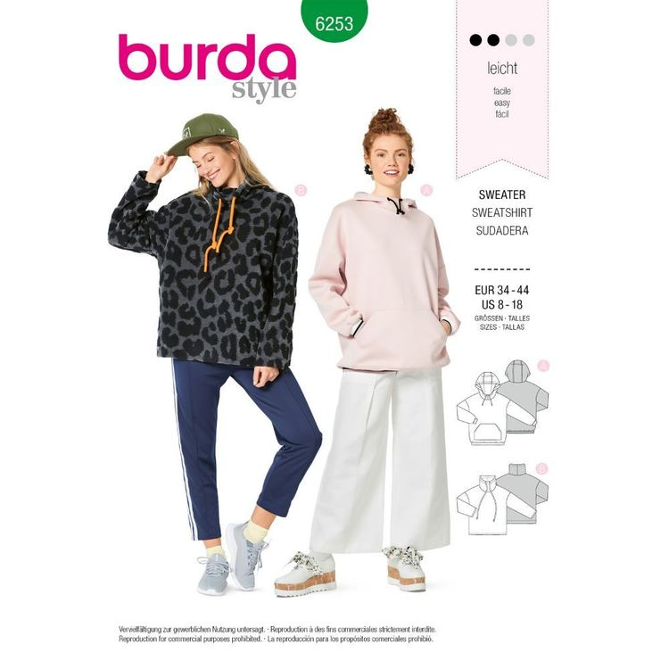 Burda Style Pattern 6253 Misses' Sweatshirts, Hoodie or High Neck, Sleeve and Pocket Variations