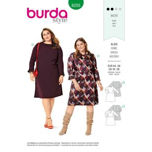 Burda Style Pattern 6255 Women's Dresses with Princess Seaming, Neckline and Sleeve Variations
