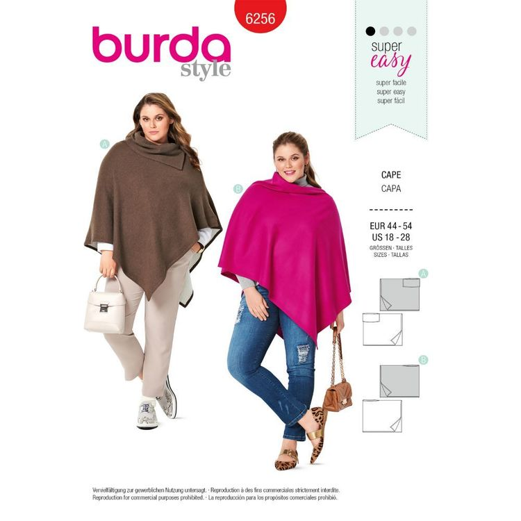 Burda Style Pattern 6256 Women's Ponchos, Designed for Stable Knits