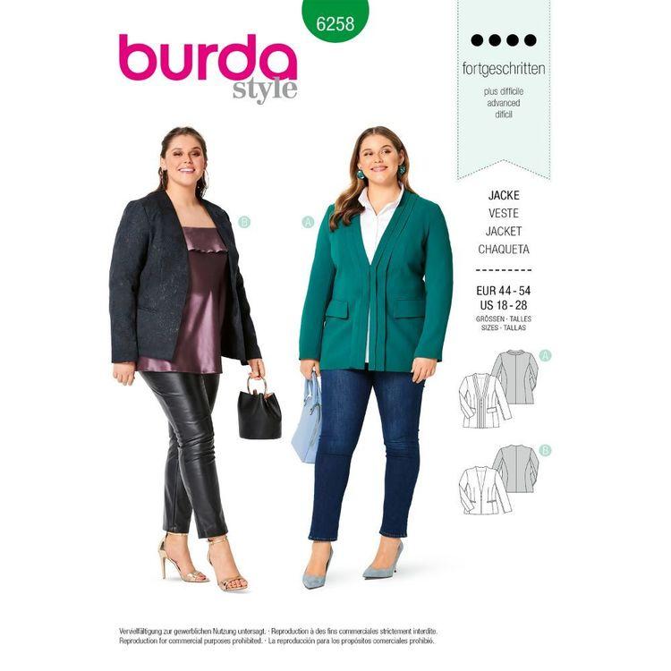 Burda Style Pattern 6258 Women's Jackets, Princess Seamed and Lined
