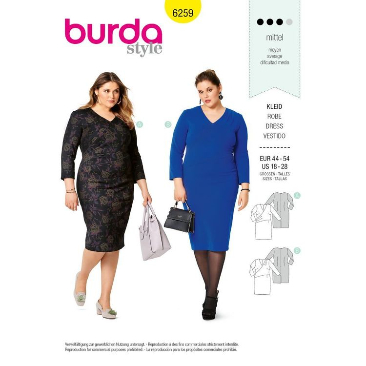 Burda Style Pattern 6259 Women's Dresses, Wrap Front Detail, Designed for Stretch Knits