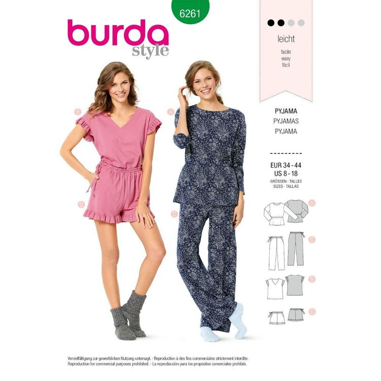 Burda Style Pattern 6261 Misses' Pyjamas, Pull-On Pants in Two Lengths, Top in Two Styles