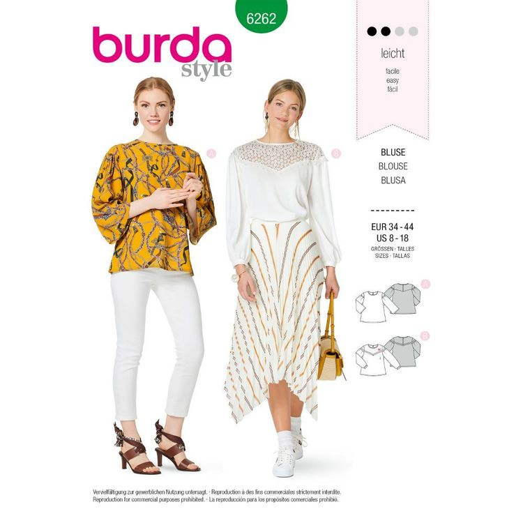 Burda Style Pattern 6262 Misses' Blouses, Pull-On with Sleeve and Yoke Variations