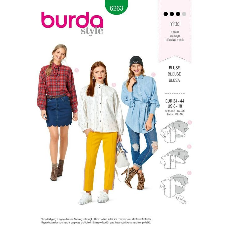 Burda Style Pattern 6263 Misses' Shirts in Three Lengths with Neckline Variations