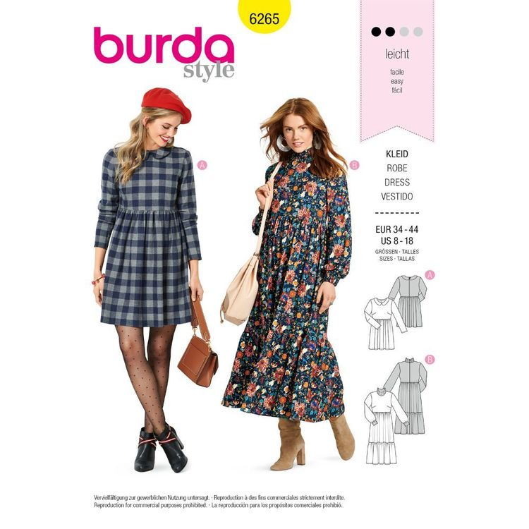 Burda Style Pattern 6265 Misses' Dresses Short or Midi Length with Tiered Skirt