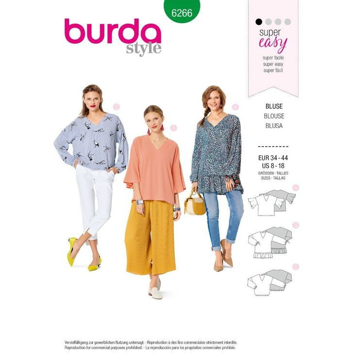 Burda Style Pattern 6266 Misses' Tops, Loose-Fitting with Sleeve Variations