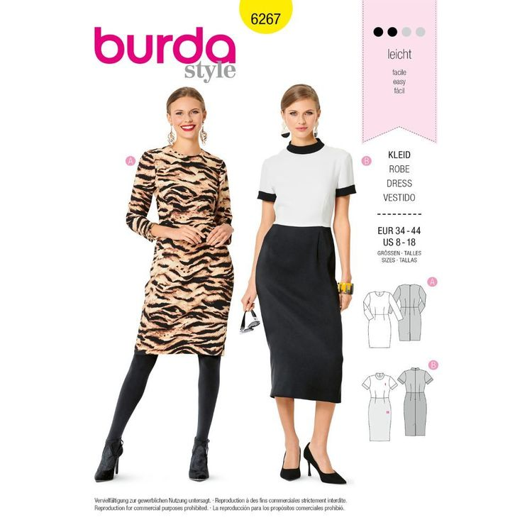 Burda Style Pattern 6267 Misses' Sheath Dress, Waisted, with Length and Sleeve Variations