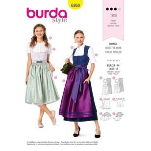 Burda Style Pattern 6268 Misses' Jumper Dress in Dirndl-Style, Blouse and Apron
