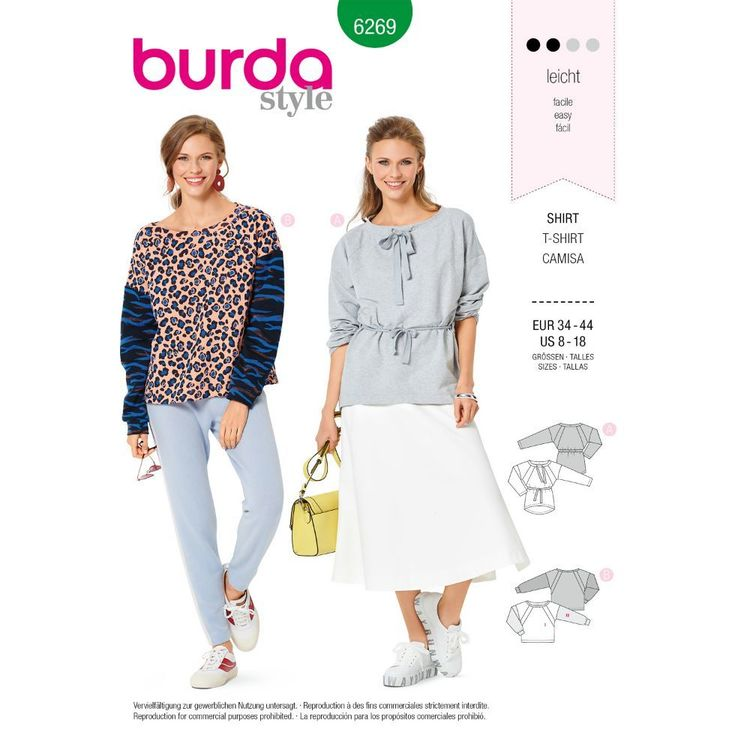 Burda Style Pattern 6269 Misses' Sweatshirts in Two Styles, Designed for Stretch Knits