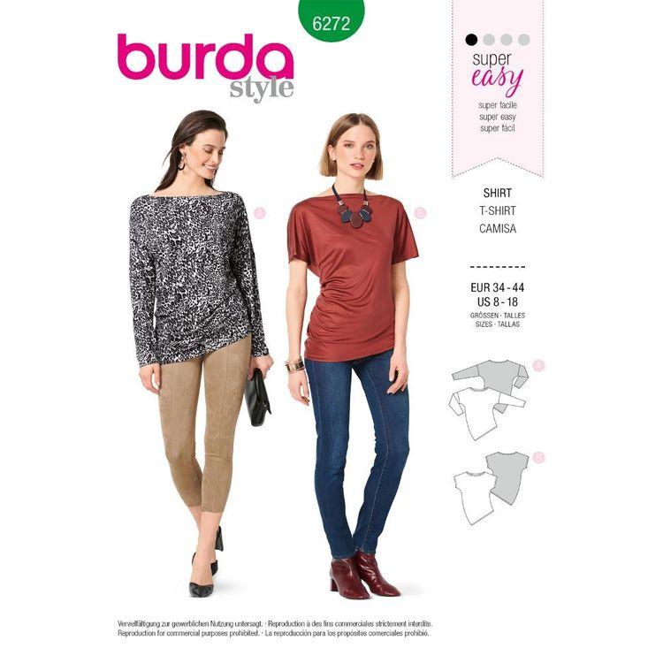 Burda Style Pattern 6272 Misses' Knit Tops with Asymmetric Hemline