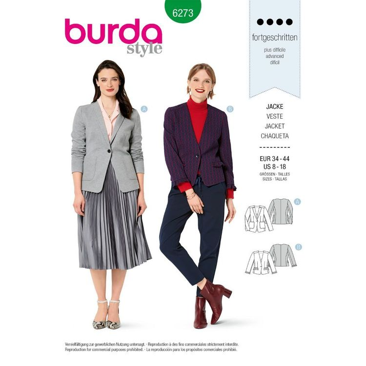 Burda Style Pattern 6273 Misses' Jackets, Half Lined and Designed for Stable Knits