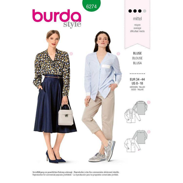 Burda Style Pattern 6274 Misses' V-Neck Blouses in Two Lengths