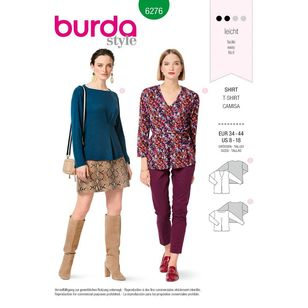 Burda Style Pattern 6276 Misses' Tops, Pull-On and Designed For Stretch Knits