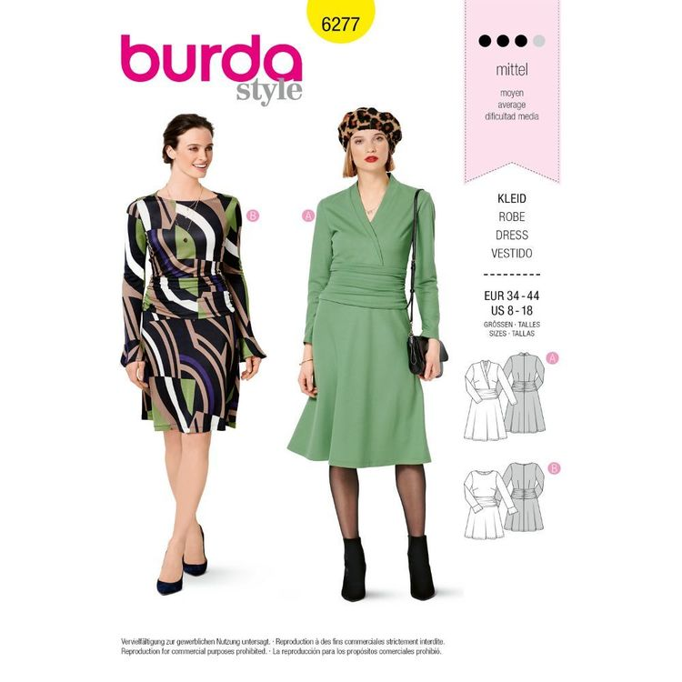 Burda Style Pattern 6277 Misses' Knit Dresses with Neckline, Skirt and Sleeve Variations
