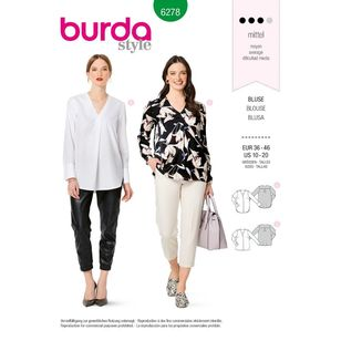 Burda Style Pattern 6278 Women's Blouses Pull-On in Two Lengths