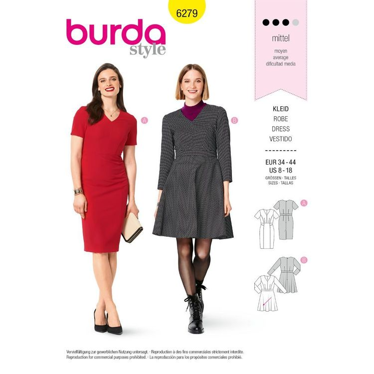 Burda Style Pattern 6279 Misses' Dresses with Princess Seams, Flared or Slim Skirt