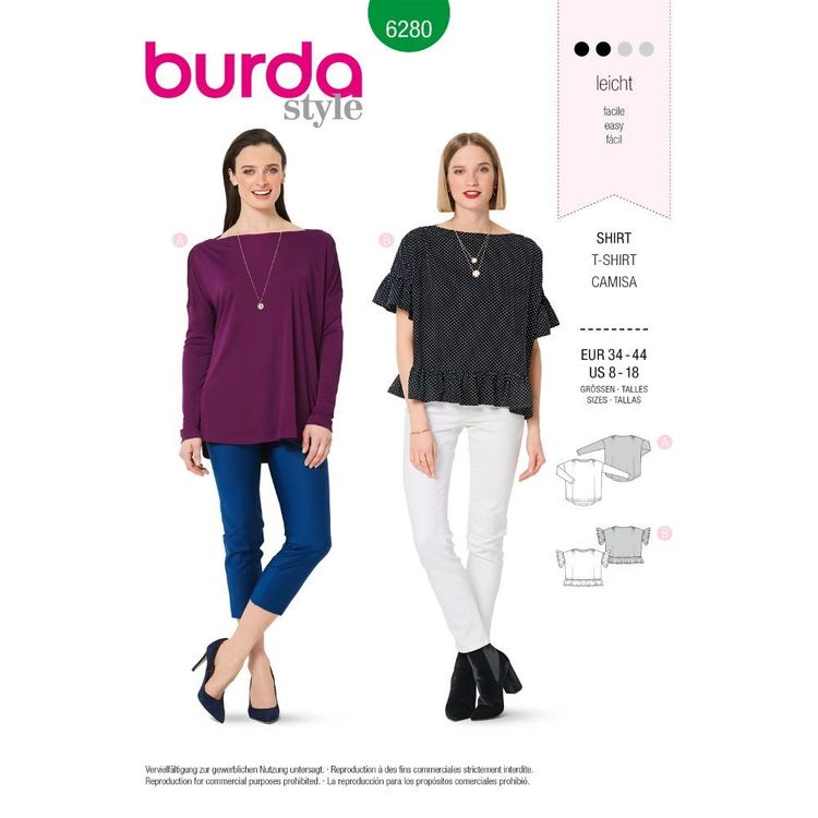 Burda Style Pattern 6280 Misses' Tops with Length and Sleeve Options