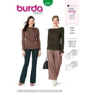 Burda Style Pattern 6281 Misses' Tops Designed For Stretch Knits