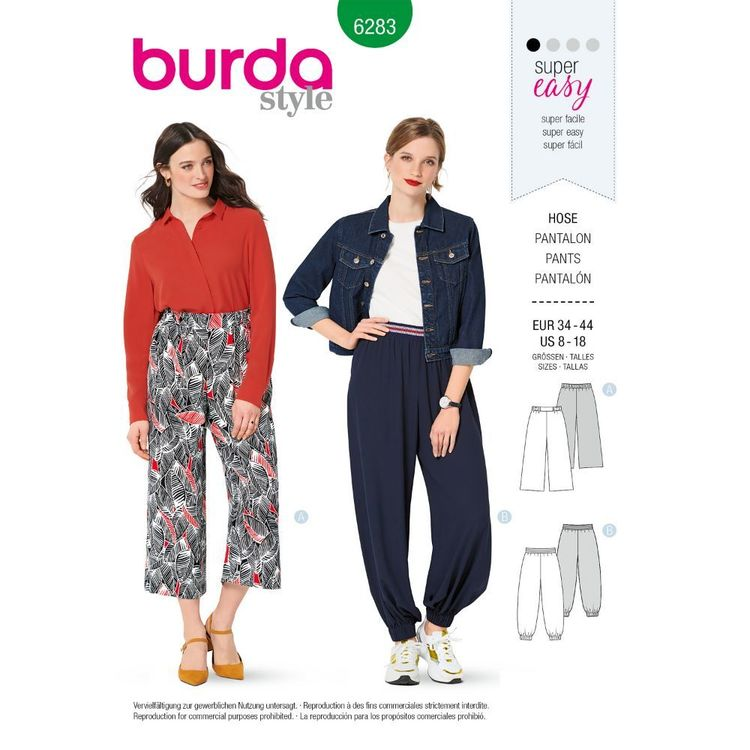 Burda Style Pattern 6283 Misses' Pants, Pull-On, Harem or Cropped Wide-Leg