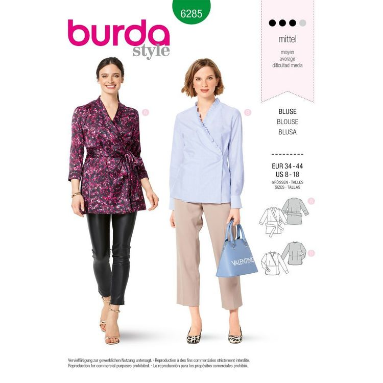 Burda Style Pattern 6285 Misses' Tunic or Blouse with Front Wrap and Sash Tie