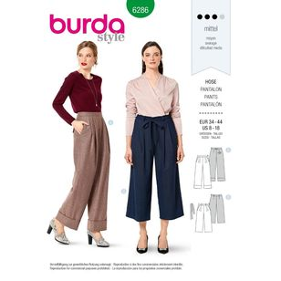 Burda Style Pattern 6286 Misses' Pants Wide Legged, Full Length or Cropped