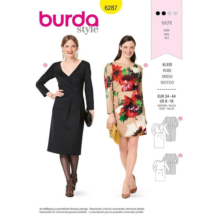 Burda Style Pattern 6287 Misses' Dresses with Neckline and Length Options