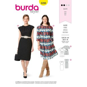 Burda Style Pattern 6288 Misses' Dresses with or without Sleeves and Flared or Straight Skirt
