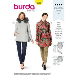 Burda Style Pattern 6289 Misses' Zipped Jacket in Two Lengths with Hood Option