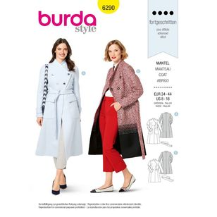 Burda Style Pattern 6290 Misses' Coat Double Breasted and Lined