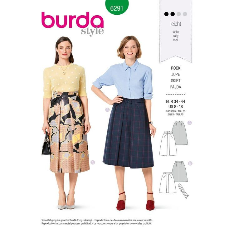 Burda Style Pattern 6291 Misses' Skirt with Front Pleat in Two Lengths