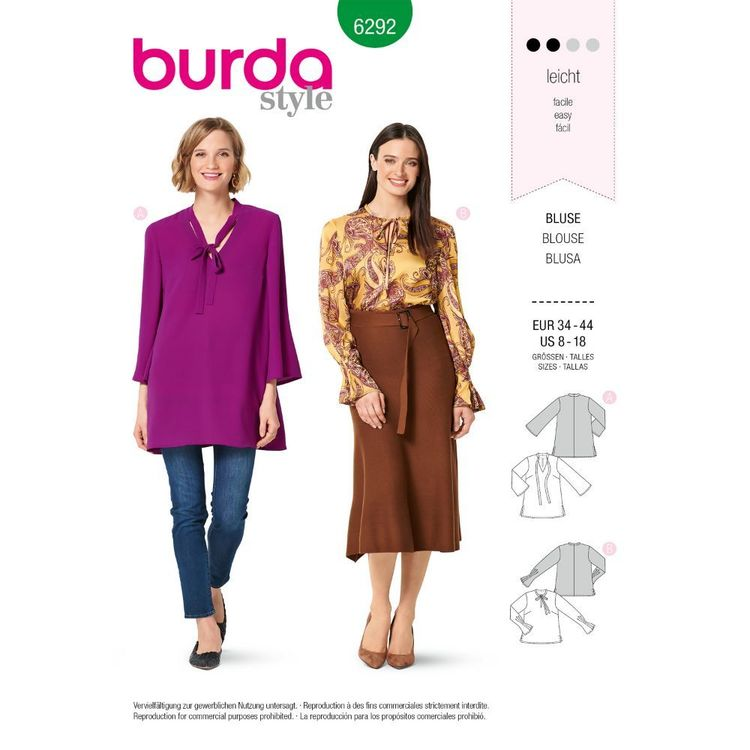 Burda Style Pattern 6292 Misses' Tunic or Top with Tie Necklines