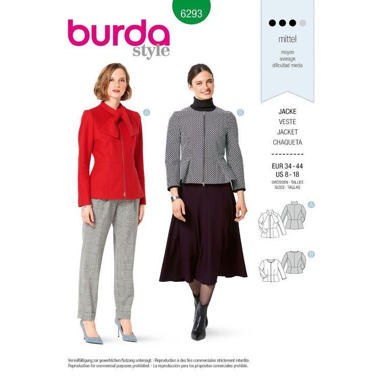 Burda Style Pattern 6293 Misses' Peplum Jackets with Zipper Closure