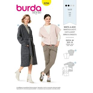 Burda Style Pattern 6294 Misses' Coat and Sleeveless Jacket