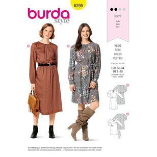 Burda Style Pattern 6295 Misses' Long Sleeve Dresses in Two Lengths