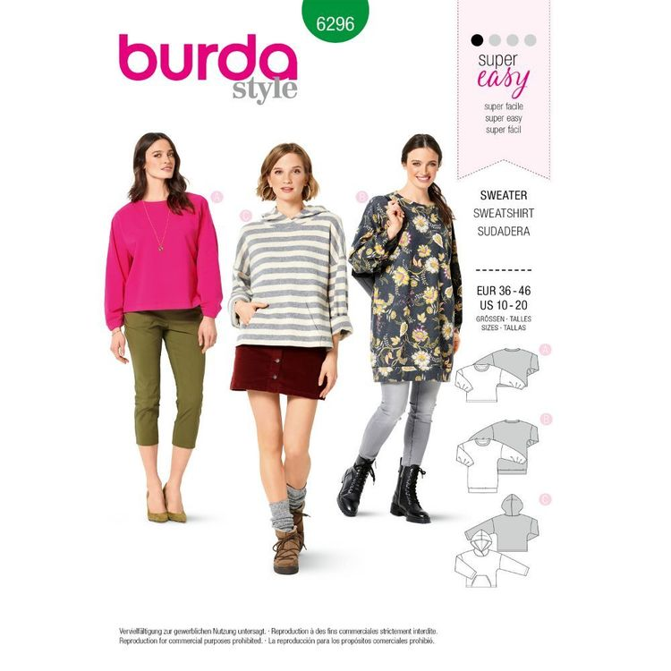 Burda Style Pattern 6296 Women's Sweatshirts In Three Styles