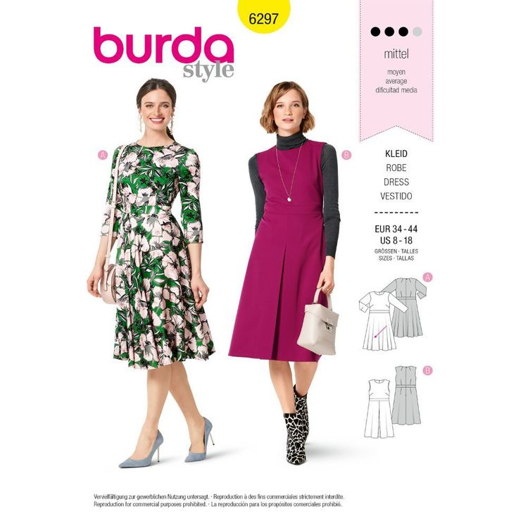 Burda Style Pattern 6297 Misses' Dresses with Flared or Pleated Skirts